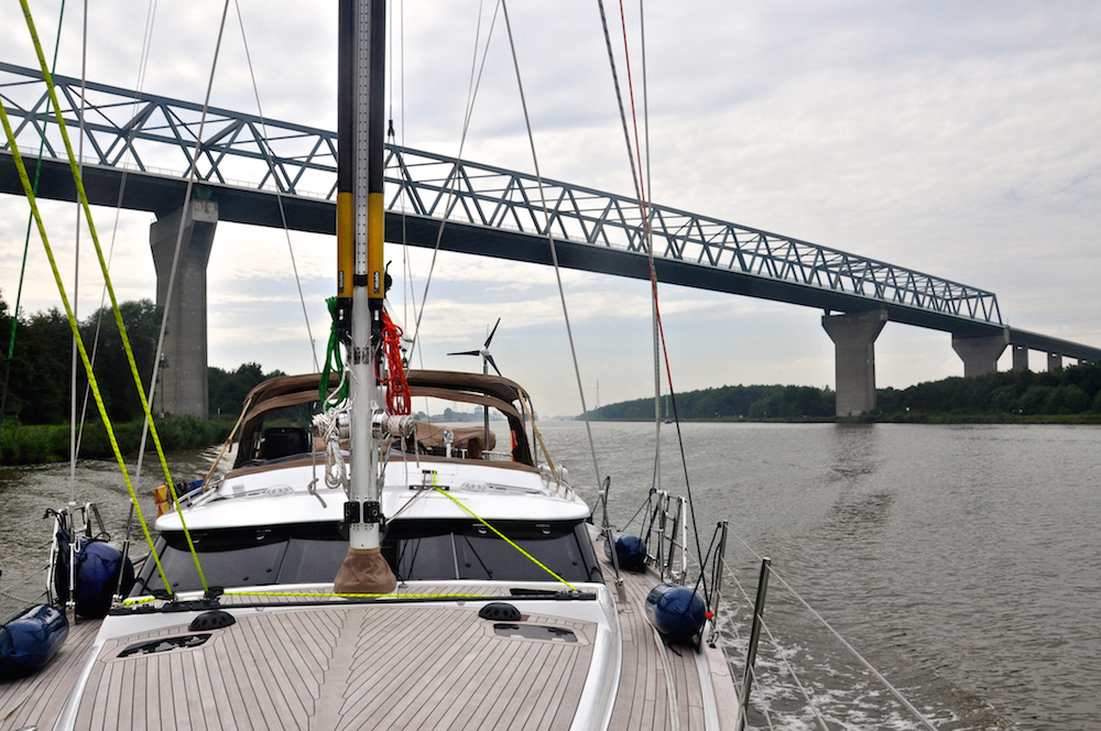 Freja in the Kiel canal | Cruising Attitude Sailing Blog - Discovery 55