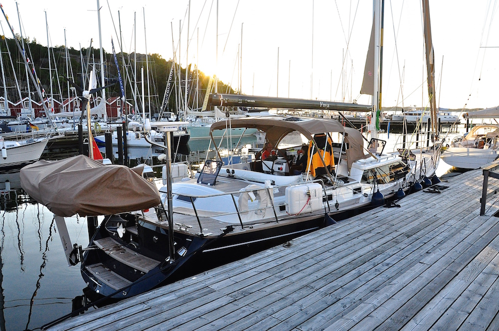 Moored in the Hallberg-Rassy marina in Ellös | Cruising Attitude Sailing Blog - Discovery 55