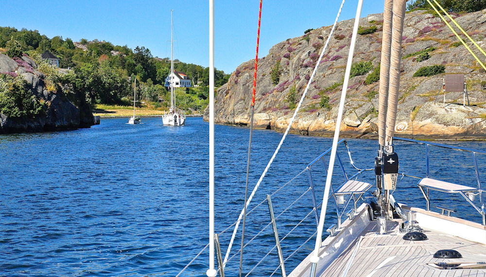 Entering the Albrechtssunds Canal on the way to Marstrand | Cruising Attitude Sailing Blog - Discovery 55