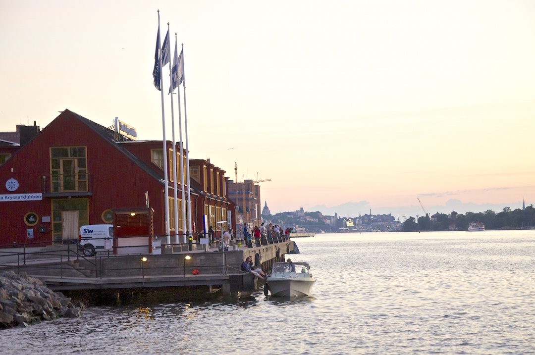 Evening fishing in Stockholm in front of the Swedish Cruising Club (SXK) offices| Cruising Attitude Sailing Blog - Discovery 55
