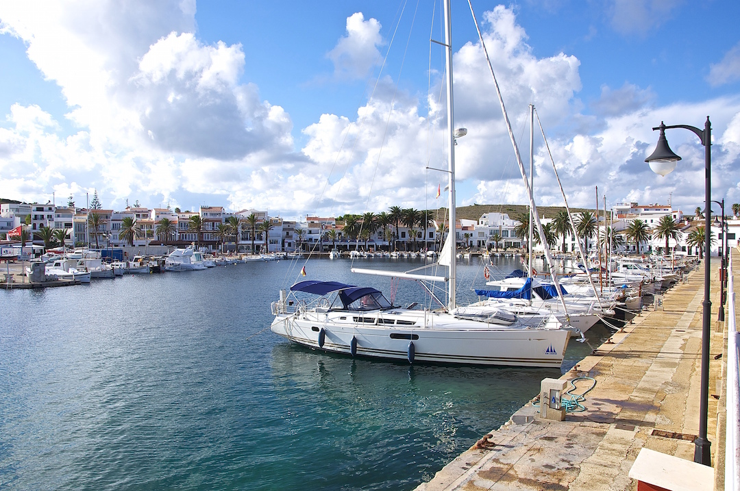 The delightful marina in Fornells on the island of Minorca. Cruising Attitude Sailing Blog - Discovery 55