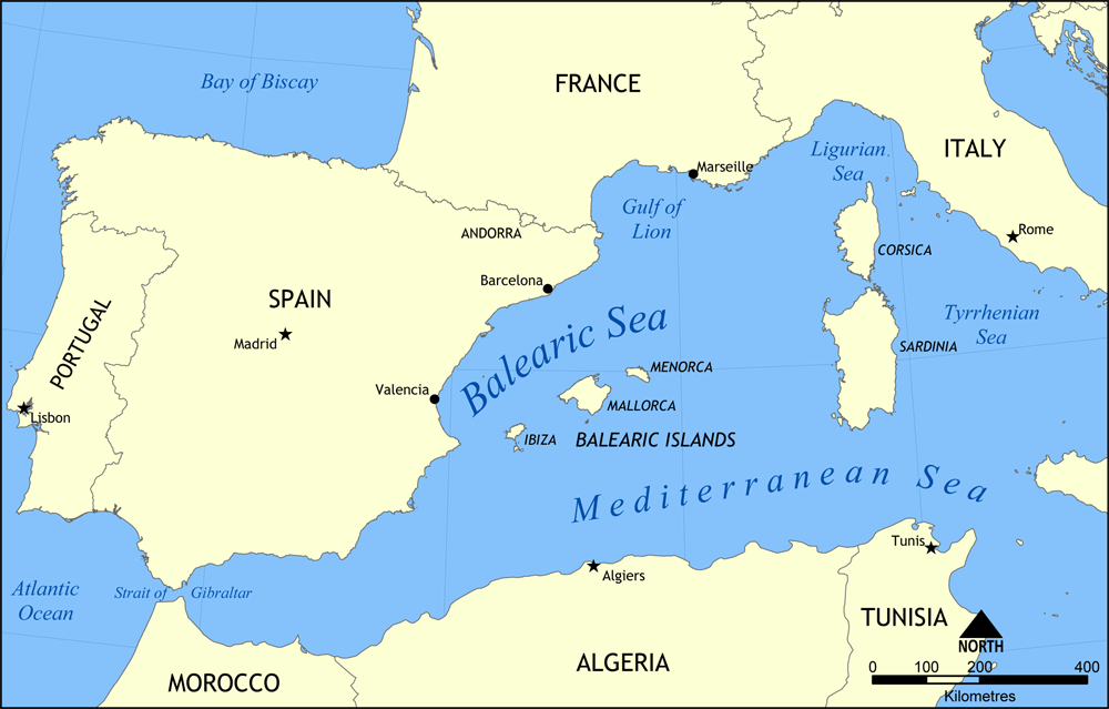 Map of Balearic Islands of Spain. Cruising Attitude Sailing Blog - Discovery 55. Map created by NormanEinstein, May 26, 2006.