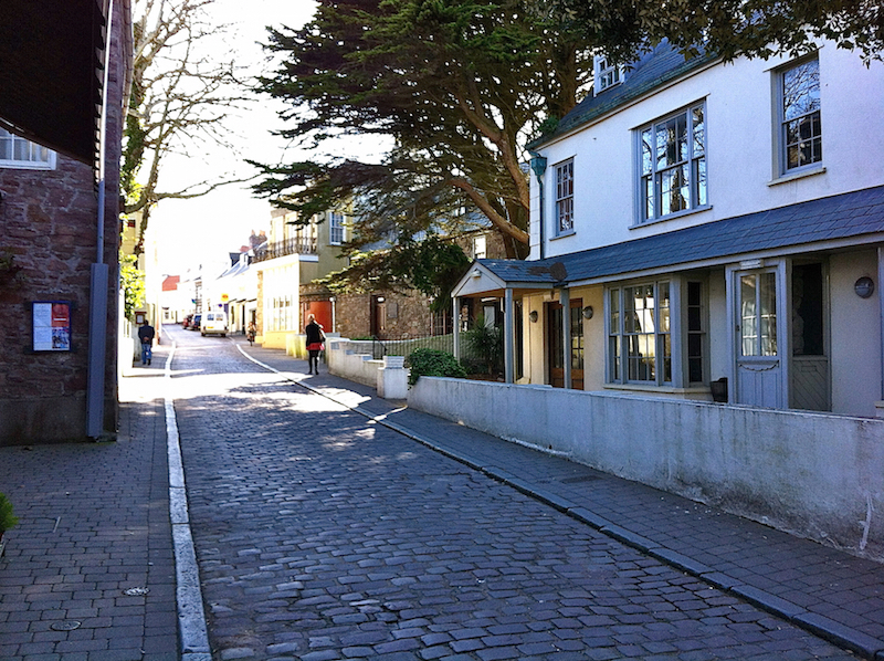 Cobblestone streets on the island of Alderney, Channel Islands | Cruising Attitude Sailing Blog - Discovery 55