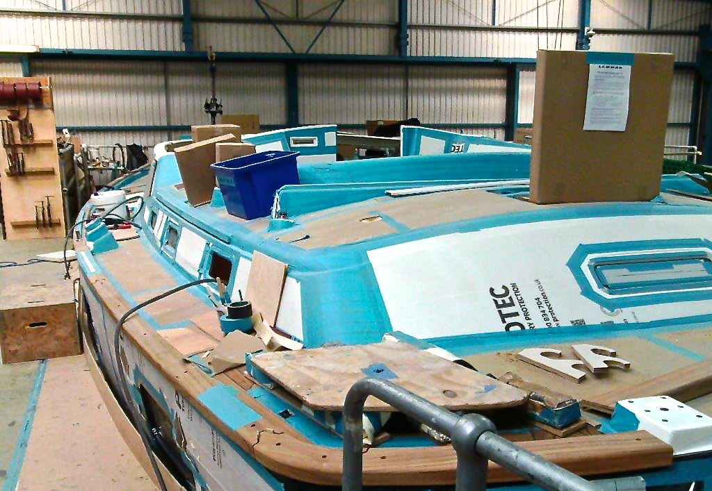 Deck has now been epoxied to the hull | Cruising Attitude Sailing Blog - Discovery 55