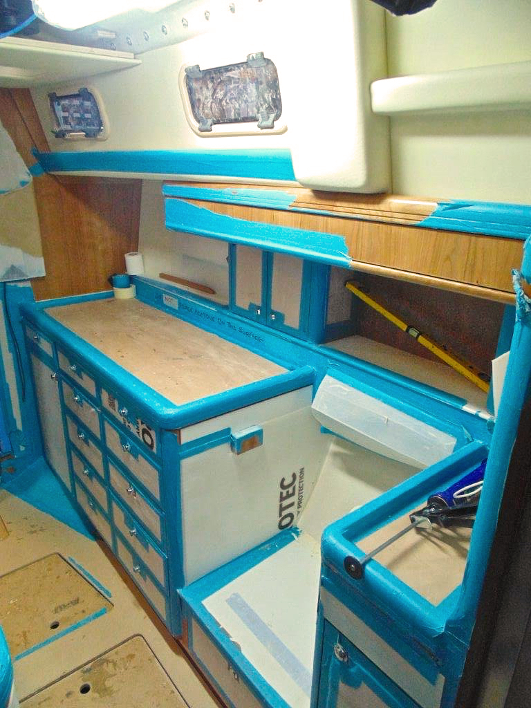 Galley cabinet installation | Cruising Attitude Sailing Blog - Discovery 55