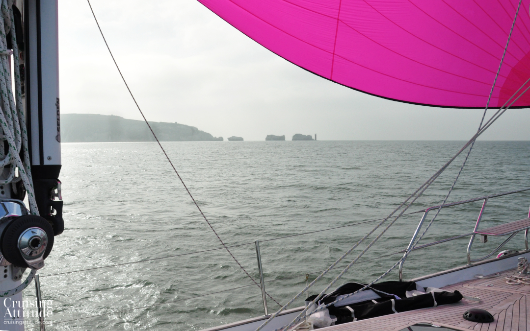 Approaching The Needles | Cruising Attitude Sailing Blog - Discovery 55