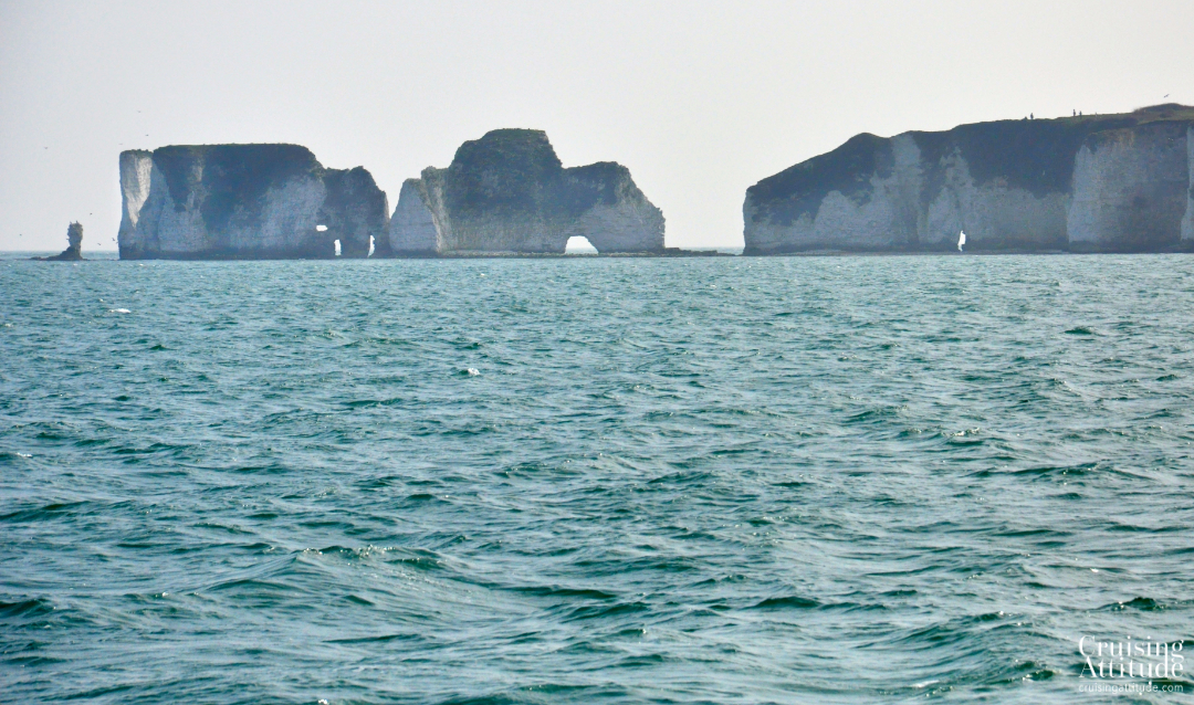 Old Harry Rocks in Studland Bay | Cruising Attitude Sailing Blog - Discovery 55