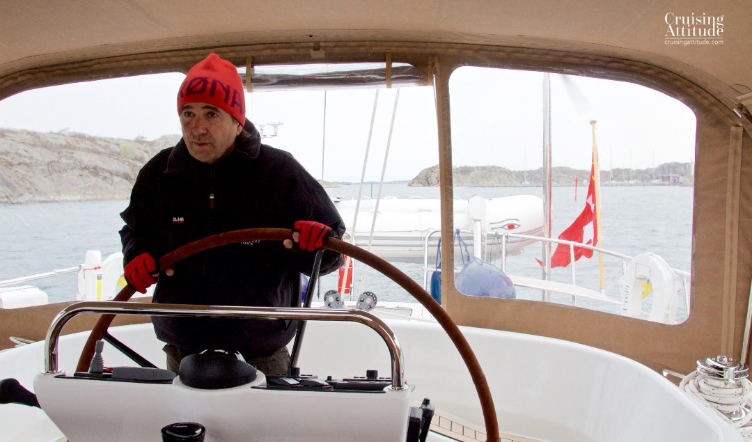It's cold on the west coast of Sweden in the beginning of May! You need to dress for winter sailing | Cruising Attitude Sailing Blog - Discovery 55