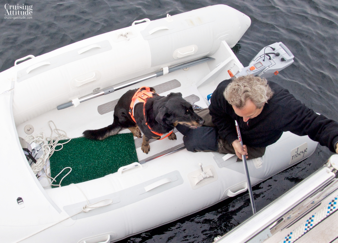 Senna in the dingy | Cruising Attitude Sailing Blog - Discovery 55