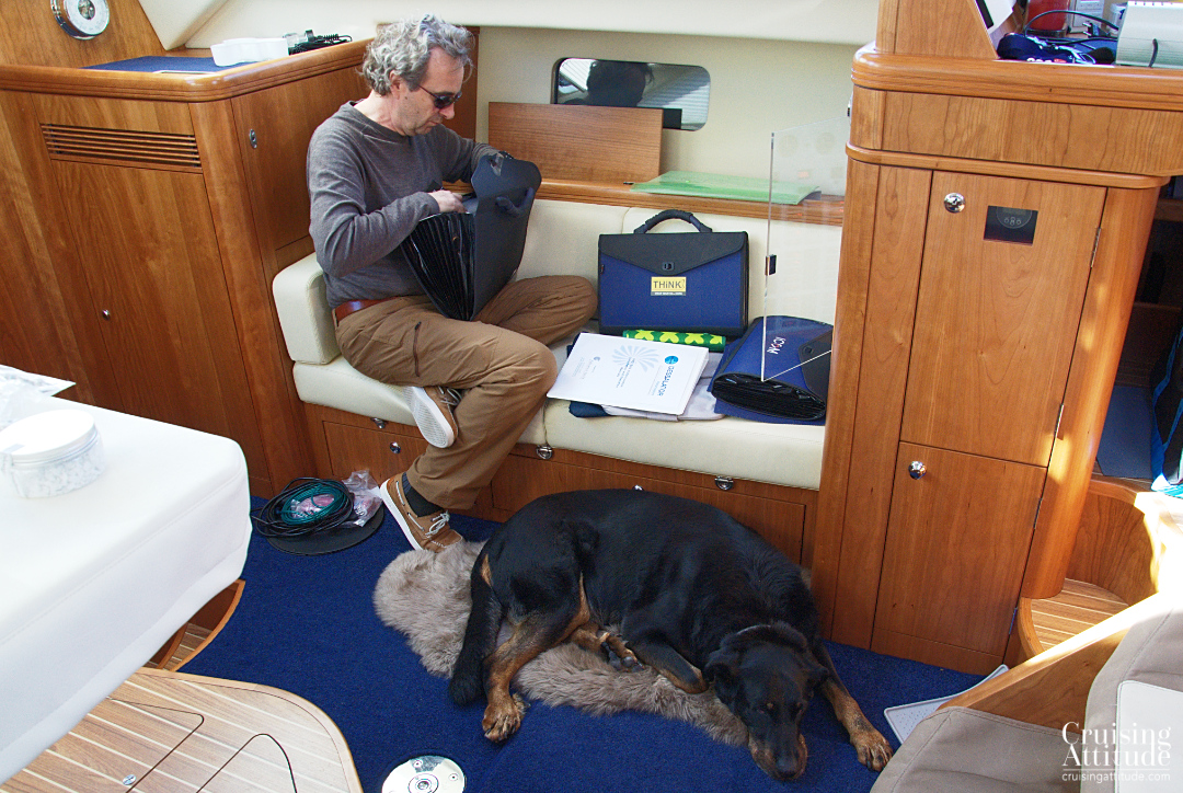 The boat is still not in order, and our dog, Senna is tired of all the boring organising and tidying up | Cruising Attitude Sailing Blog - Discovery 55