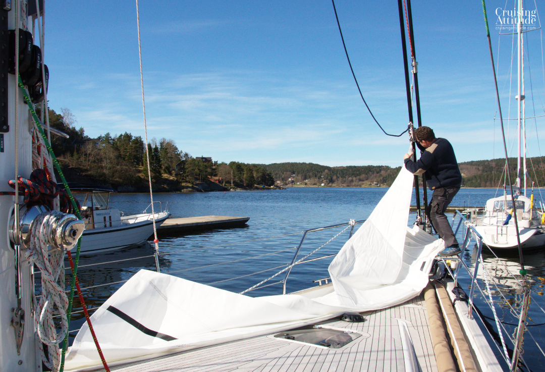 Putting up the jib | Cruising Attitude Sailing Blog - Discovery 55