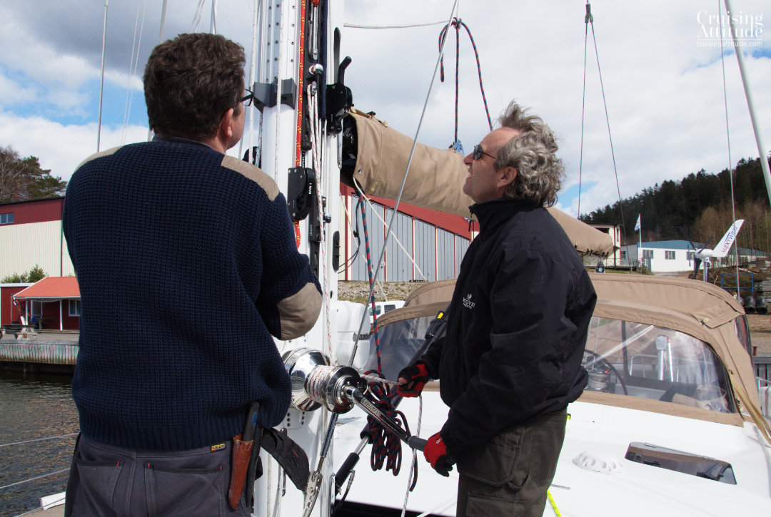Making sure the lines are correctly organised on the mast | Cruising Attitude Sailing Blog - Discovery 55