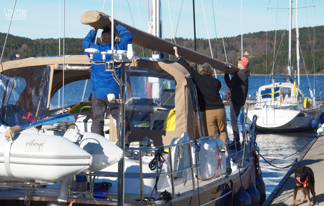 Attaching the boom | Cruising Attitude Sailing Blog - Discovery 55