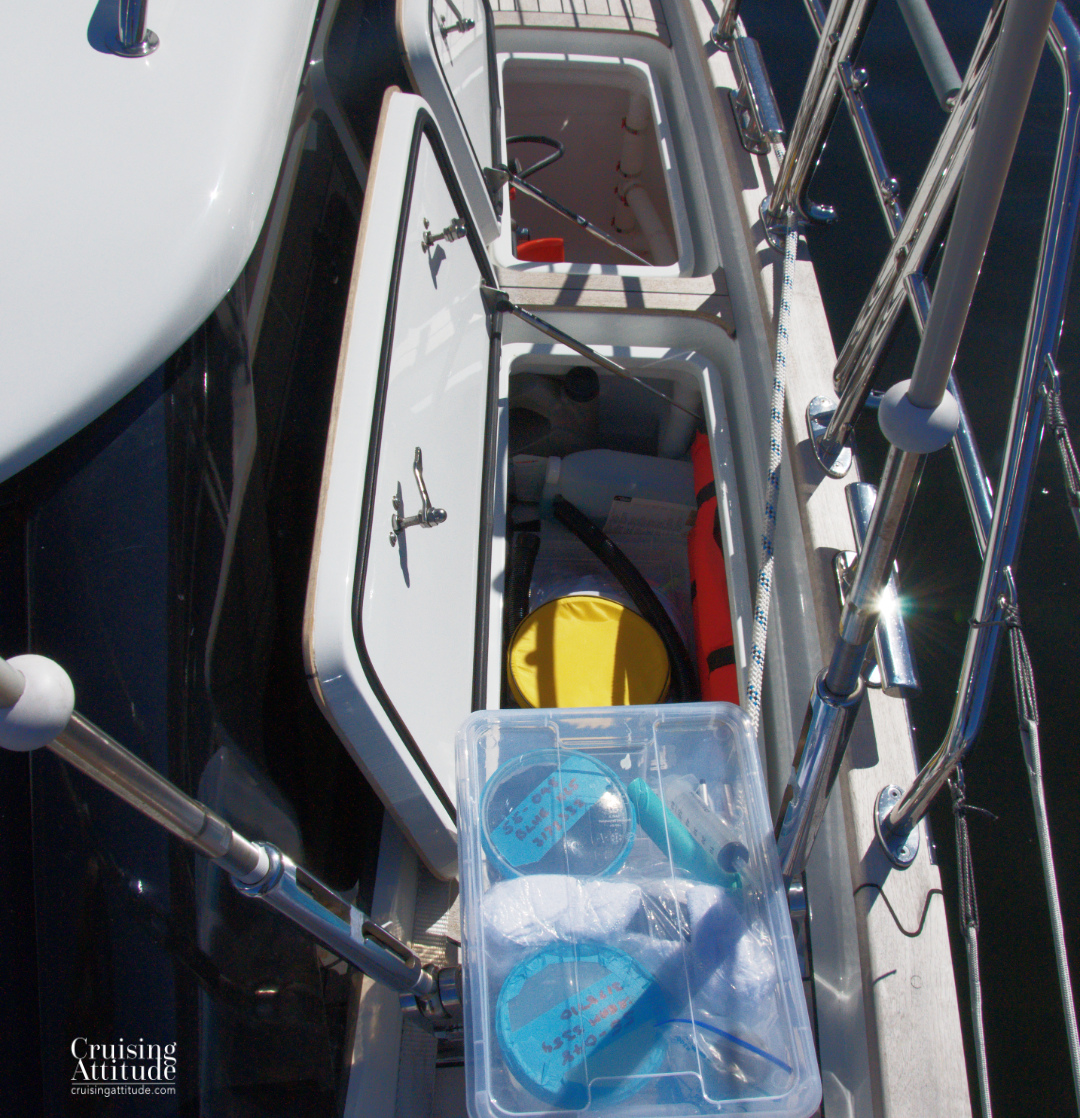 Organising the side deck locker | Cruising Attitude Sailing Blog - Discovery 55