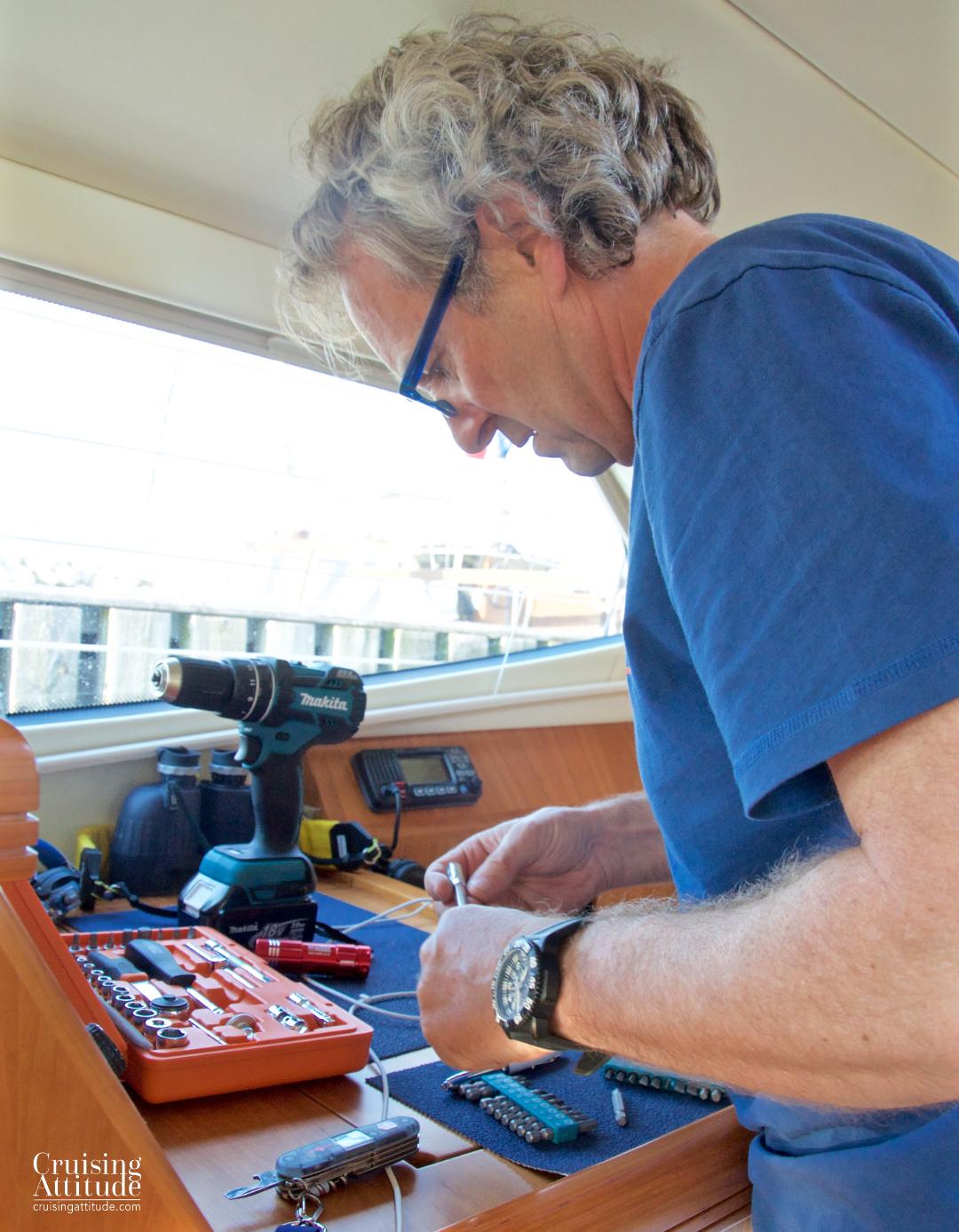 Repairing a leak | Cruising Attitude Sailing Blog - Discovery 55