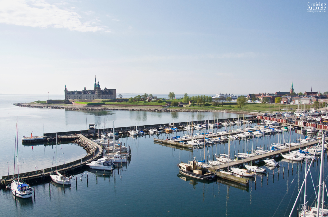 View of Helsingør marina and castle from 24 meters up the mast | Cruising Attitude Sailing Blog - Discovery 55